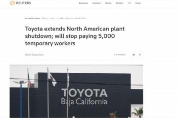 全球财媒头条丰田延伸北美工厂关门时刻特斯拉将大幅降薪