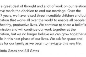 66岁比尔•盖茨宣布结束27年婚姻不认同还能一起成长…1300亿美元怎么分